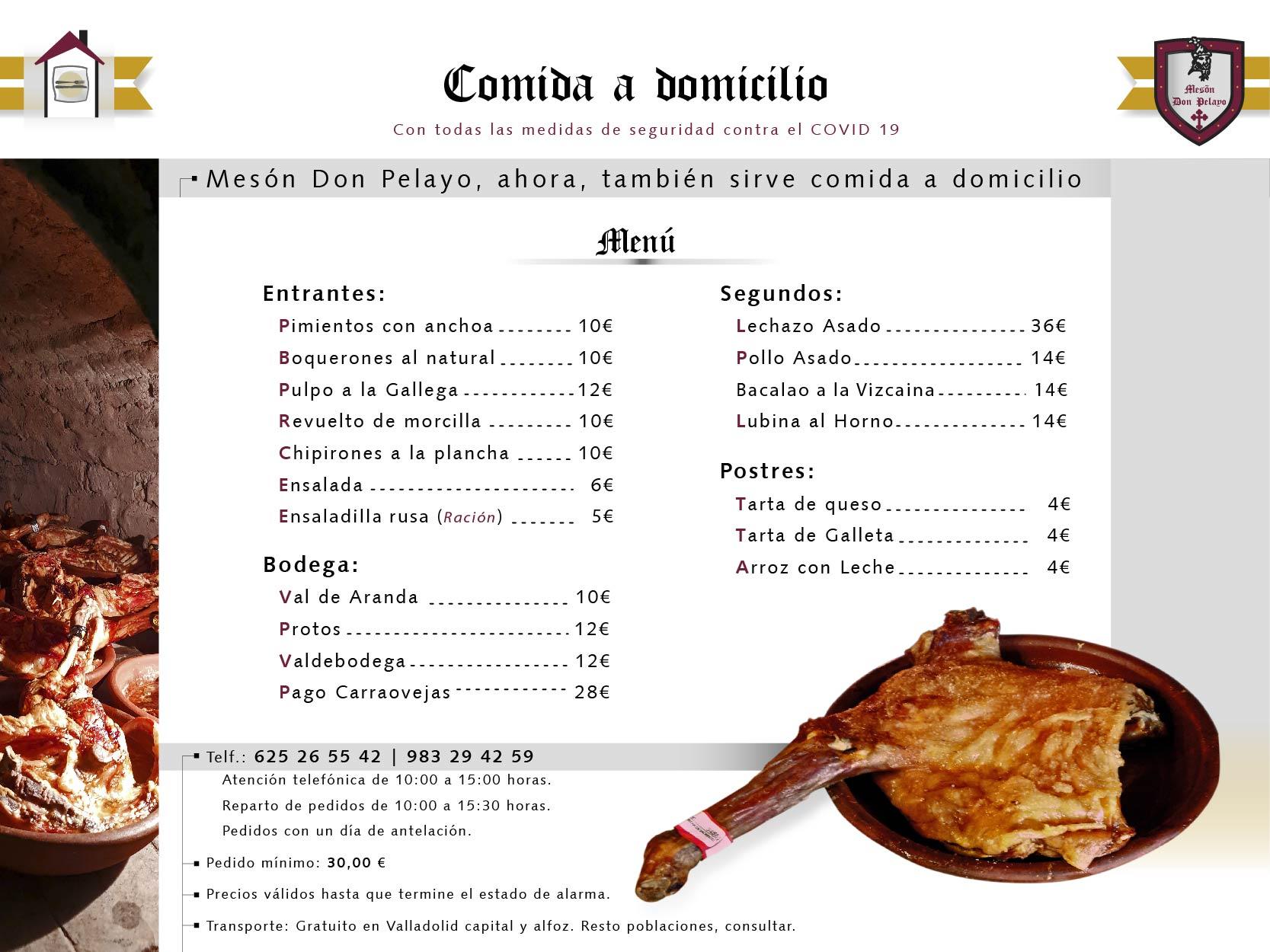 Menú Mesón Restaurante Don Pelayo a 11 de mayo 2020