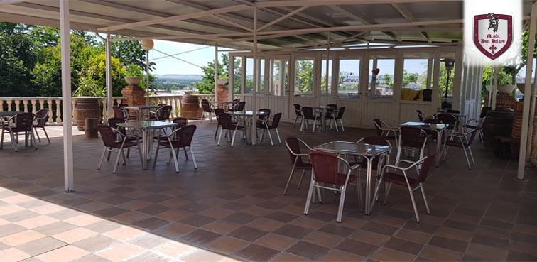 terrazas en el jardín del restaurante Mesón Don Pelayo