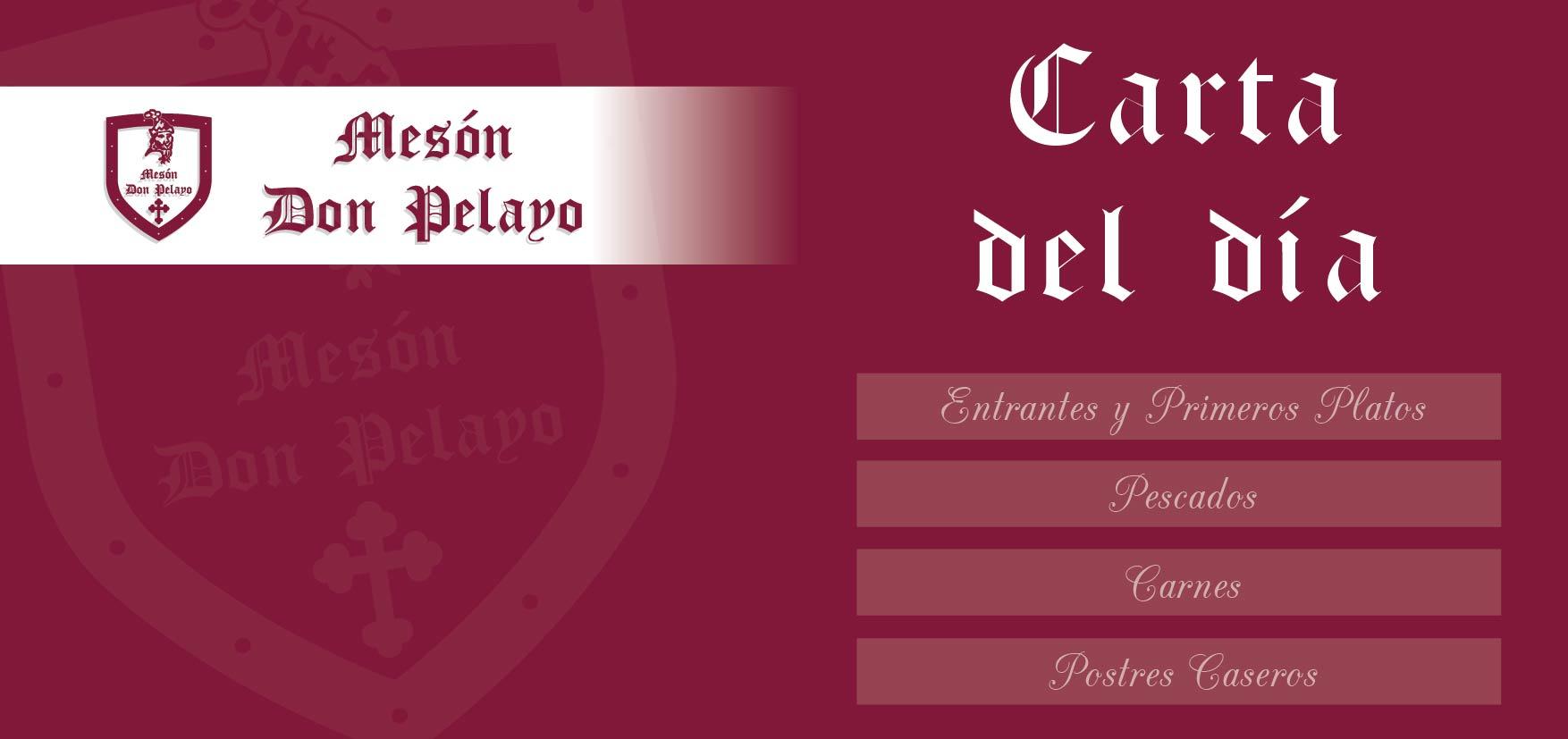 Carta del día restaurante Mesón Don Pelayo