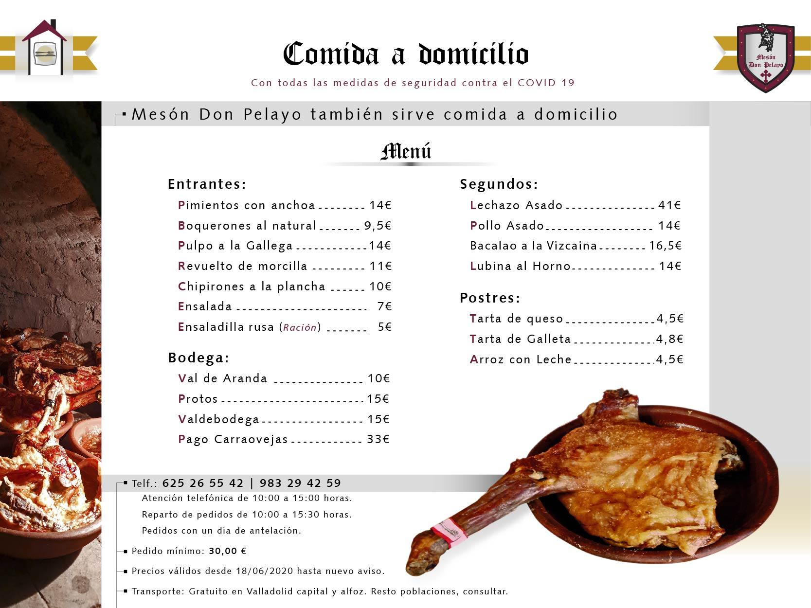 Mesón Restaurante Don Pelayo | Menú para enviar a domicilio