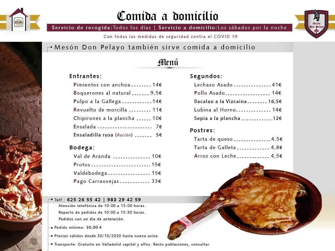 Mesón Restaurante Don Pelayo | Menú para recoger o enviar a domicilio